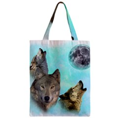 Wolves Shiney Grim Moon 3000 Zipper Classic Tote Bags
