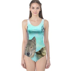 Wolves Shiney Grim Moon 3000 Women s One Piece Swimsuits