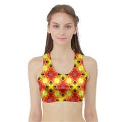 Cute Pretty Elegant Pattern Women s Sports Bra With Border