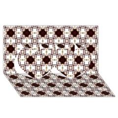 Cute Pretty Elegant Pattern Twin Hearts 3d Greeting Card (8x4)