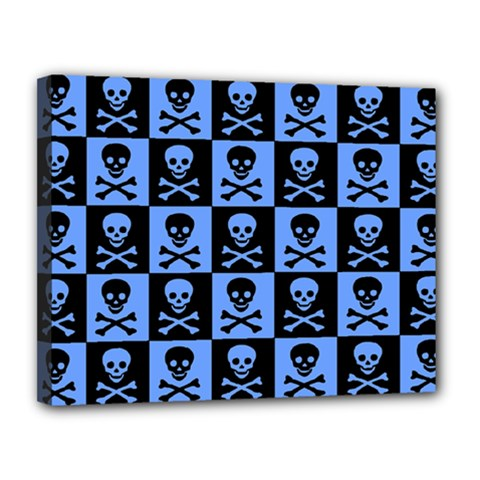 Blue Skull Checkerboard Canvas 14  X 11