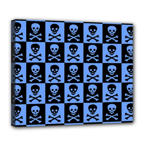 Blue Skull Checkerboard Deluxe Canvas 24  X 20