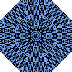 Blue Skull Checkerboard Golf Umbrellas
