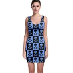 Blue Skull Checkerboard Bodycon Dresses