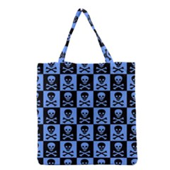 Blue Skull Checkerboard Grocery Tote Bags