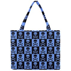 Blue Skull Checkerboard Tiny Tote Bags