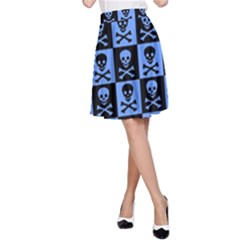 Blue Skull Checkerboard A Line Skirts