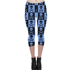 Blue Skull Checkerboard Capri Leggings