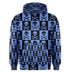 Blue Skull Checkerboard Men s Pullover Hoodies
