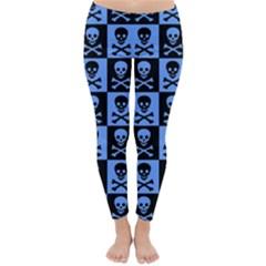 Blue Skull Checkerboard Winter Leggings