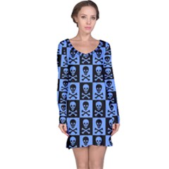 Blue Skull Checkerboard Long Sleeve Nightdresses