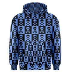 Blue Skull Checkerboard Men s Zipper Hoodies