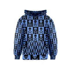 Blue Skull Checkerboard Kids Zipper Hoodies