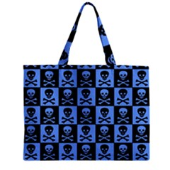 Blue Skull Checkerboard Zipper Tiny Tote Bags