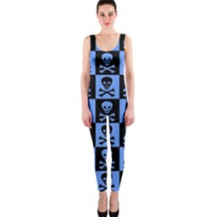 Blue Skull Checkerboard OnePiece Catsuits