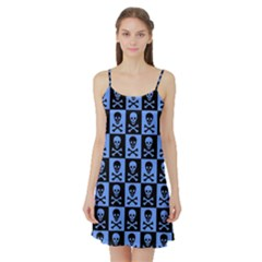 Blue Skull Checkerboard Satin Night Slip
