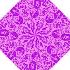 Purple Skull Sketches Hook Handle Umbrellas (Large)