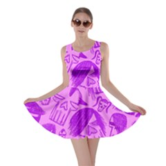 Purple Skull Sketches Skater Dresses