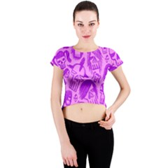 Purple Skull Sketches Crew Neck Crop Top