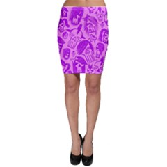 Purple Skull Sketches Bodycon Skirts