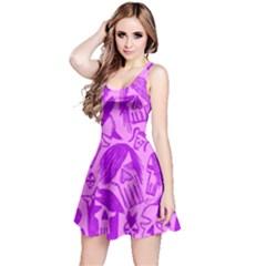 Purple Skull Sketches Reversible Sleeveless Dresses