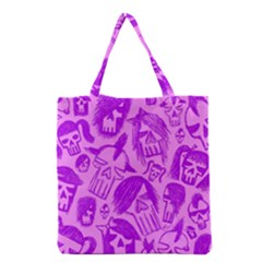 Purple Skull Sketches Grocery Tote Bags