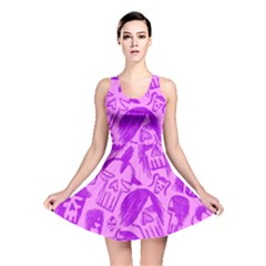 Purple Skull Sketches Reversible Skater Dresses
