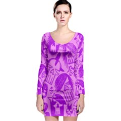 Purple Skull Sketches Long Sleeve Bodycon Dresses