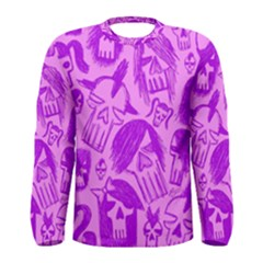 Purple Skull Sketches Men s Long Sleeve T Shirts