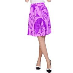 Purple Skull Sketches A-Line Skirts