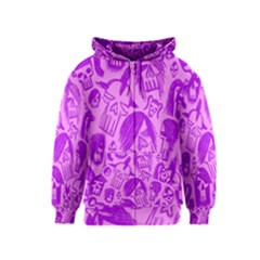Purple Skull Sketches Kids Zipper Hoodies