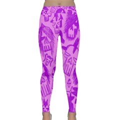 Purple Skull Sketches Yoga Leggings