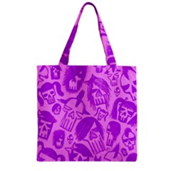 Purple Skull Sketches Zipper Grocery Tote Bags