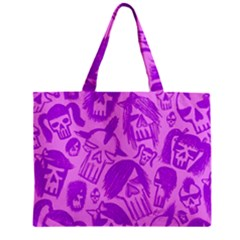 Purple Skull Sketches Zipper Tiny Tote Bags