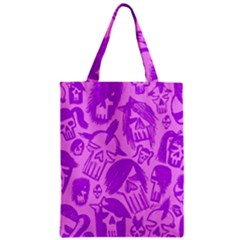 Purple Skull Sketches Zipper Classic Tote Bags