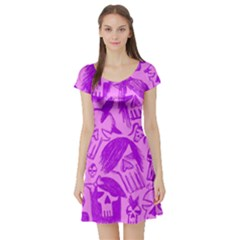 Purple Skull Sketches Short Sleeve Skater Dresses