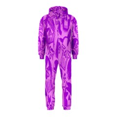 Purple Skull Sketches Hooded Jumpsuit (Kids)