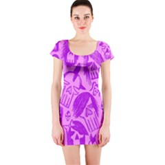 Purple Skull Sketches Short Sleeve Bodycon Dresses