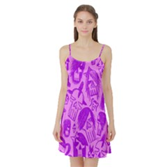 Purple Skull Sketches Satin Night Slip