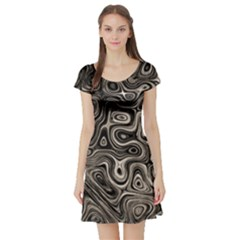 Tile Reflections Alien Skin Dark Short Sleeve Skater Dresses