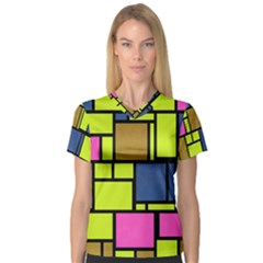 Squares And Rectangles Women s V Neck Sport Mesh Tee
