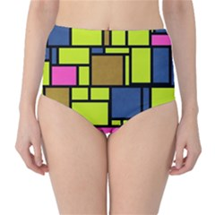 Squares and rectangles High-Waist Bikini Bottoms