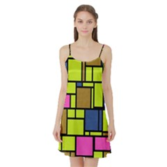 Squares and rectangles Satin Night Slip