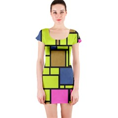 Squares And Rectangles Short Sleeve Bodycon Dress