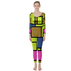 Squares and rectangles  Long Sleeve Catsuit