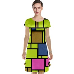 Squares and rectangles Cap Sleeve Nightdress