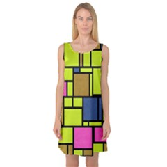 Squares And Rectangles Sleeveless Satin Nightdress