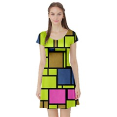Squares and rectangles Short Sleeve Skater Dress