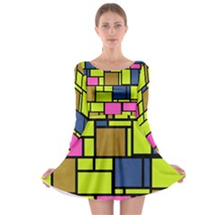 Squares and rectangles Long Sleeve Skater Dress