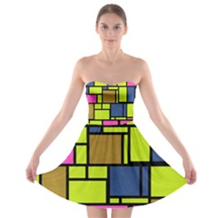 Squares And Rectangles strapless Bra Top Dress